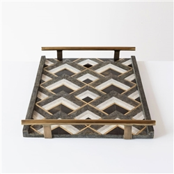 Shagreen Geometric Tray with tube handles