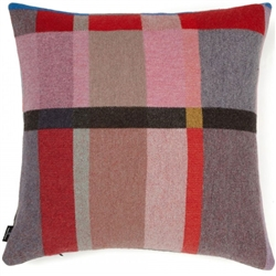 lambswood woven block multi-color pillow with red