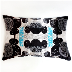 Sue Heatley Wood Cut Print on Satin Rectangular Pillow