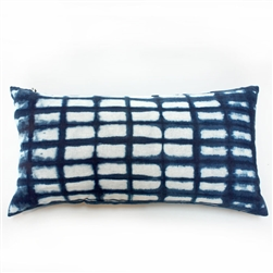 tie dye square indigo print lumbar handmade cotton pillow