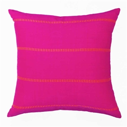 handwoven pillow in fuchsia ans orange