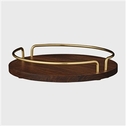 Elegant Walnut / Brass round tray for decoration or food serving purposes.