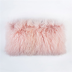 "Tibetan Lumbar Fur Pillow Pink 22"" x 12"""
