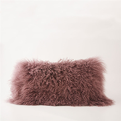 "Tibetan Lumbar Fur Pillow Mauve 22"" x 12"""