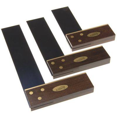 "Premium 3 pc 4"" 6"" 8"" Try Square Solid Ebony Stock Blued Steel Blade"
