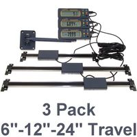 "3 pc Set 6""-12""-24"" Absolute Digital Readout DRO Stainless Steel Super High Accuracy w/Remote Reading"