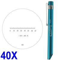 "Pocket Scope Magnifier Scale 40X Magnification Microscope Scale Range 0-0.07"" 0.082"" Field of View"