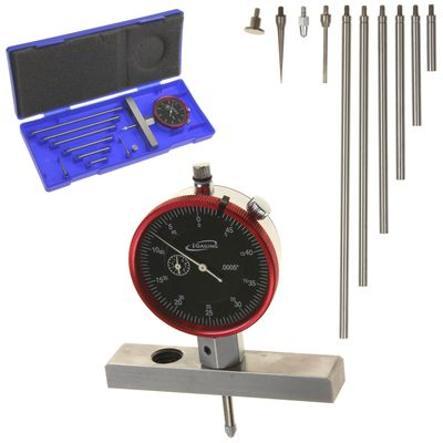 "Depth Gauge Dial Indicator  0-22"" Measuring Range, 0.0005"" Resolution, 2-Position Base"