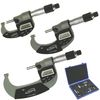 "0-3"" Digital Outside Micrometer Electronic Hybrid LCD Display and Vernier w/ IP65 Dust/Water Protection, 3 Piece Set"