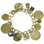 Gold-Layered Foreign Coins Charm Bracelet Coin Jewelry