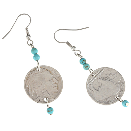 NEW Buffalo Nickel Turquoise Coin Earrings Coin Jewelry 11118