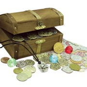 Kid's Treasure Chest with Replica Pirate Coins/Foreign Coins/Gems/Necklace Coin Jewelry