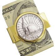 1986 Statue of Liberty Commemorative Half Dollar Coin in Goldtone Money Clip Coin Jewelry