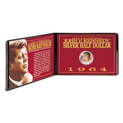 Colorized John F. Kennedy Silver Half Dollar In Handsome Portfolio