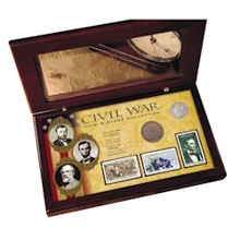 Civil War Coin & Stamp Collection Boxed Set