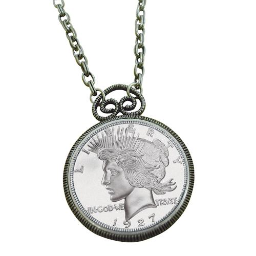 d30ede3c2e368 1927 Peace Dollar Replica Antique Silver Coin Pendant Coin Jewelry