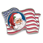 Santa Colorized Quarter Flag Pin