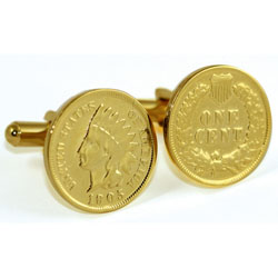 24K Gold Layered Indian Head Coin Cuff Links