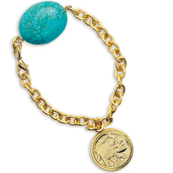 Gold-Layered Buffalo Nickel Bracelet with Turquoise Stone