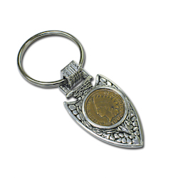 Indian Cent in Silvertone Arrowhead Keyring