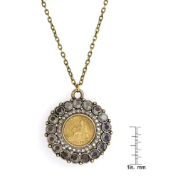 French One Franc Coin Smokey Crystal Pendant