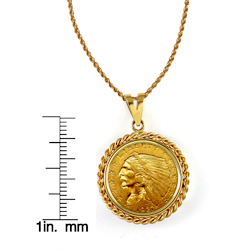 $2.50 Indian Head Gold Piece Quarter Eagle Coin in 14k Gold Rope Bezel