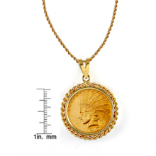 $10 Indian Head Gold Piece Eagle Coin in 14k Gold Rope Bezel