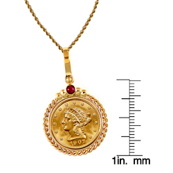 $2.50 Liberty Gold Piece Quarter Eagle Coin in 14k Gold Twisted Rope Bezel w/Ruby