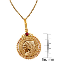 $5 Indian Head Gold Piece Half Eagle Coin in 14k Gold Twisted Rope Bezel w/Ruby