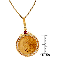 $10 Indian Head Gold Piece Eagle Coin 14k Gold Twisted Rope Bezel w/Ruby