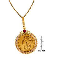 $20 Liberty Gold Piece Double Eagle Coin in 14k Gold Twisted Rope Bezel w/Ruby