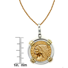 $5 Indian Head Gold Piece Half Eagle Coin in Sterling Silver & 14k Gold Bezel