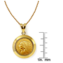 $2.50 Indian Head Gold Piece Quarter Eagle Coin in 14k Dome Shape Bezel