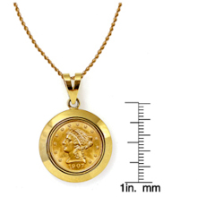 $2.50 Liberty Gold Piece Quarter Eagle Coin in 14k Dome Shape Bezel