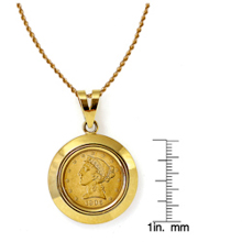 $5 Liberty Gold Piece Half Eagle Coin in 14k Dome Shape Bezel