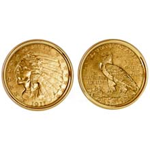 $2.50 Indian Head Gold Piece Quarter Eagle Coin Cuff links