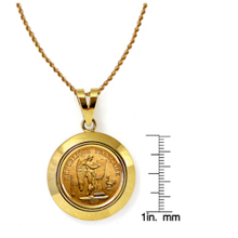 French 20 Franc Lucky Angel Gold Piece Coin in 14k Dome Shape Bezel