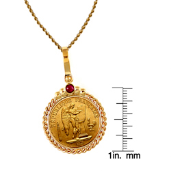 French 20 Franc Lucky Angel Gold Piece Coin in 14k Gold Twisted Rope Bezel w/Ruby