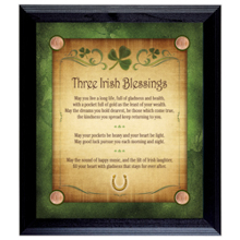 Three Irish Blessings with 4 Lucky Irish Pennies Wall Frame