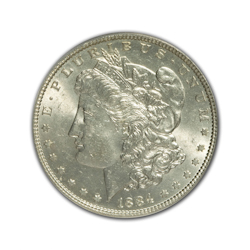 1884P Morgan Silver Dollar in Fine Condition (F15) Graded by AACGS