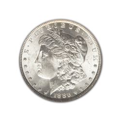1886P Morgan Silver Dollar in Fine Condition (F15) Graded by AACGS