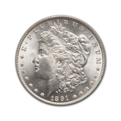 1891O Morgan Silver Dollar in Fine Condition (F15) Graded by AACGS