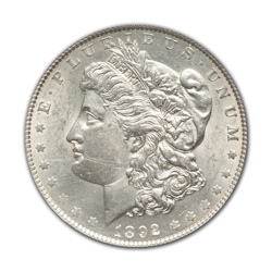 1892CC Morgan Silver Dollar in Fine Condition (F15) Graded by AACGS
