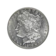 1878CC Morgan Silver Dollar in Uncirculated Condition (MS62) Graded by AACGS