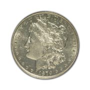 1879CC Morgan Silver Dollar in Uncirculated Condition (MS62) Graded by AACGS