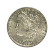 1880P Morgan Silver Dollar in Uncirculated Condition (MS62) Graded by AACGS