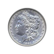 1881CC Morgan Silver Dollar in Uncirculated Condition (MS62) Graded by AACGS