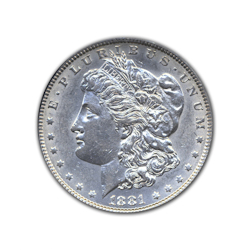 1881P Morgan Silver Dollar in Uncirculated Condition (MS62) Graded by AACGS