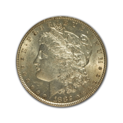 1882CC Morgan Silver Dollar in Uncirculated Condition (MS62) Graded by AACGS