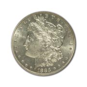 1883P Morgan Silver Dollar in Uncirculated Condition (MS62) Graded by AACGS